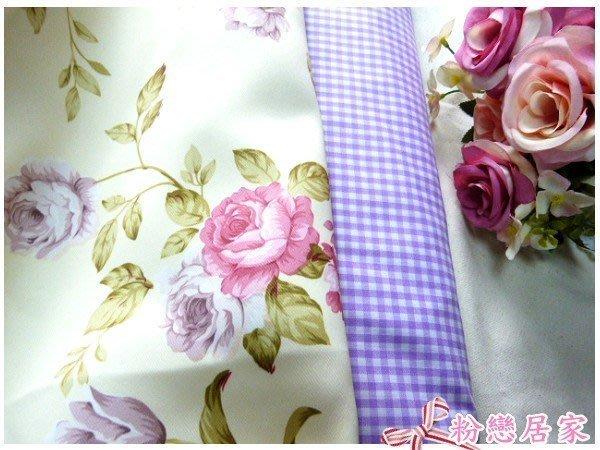 美式鄉村風玫瑰淺黃底遮光布窗簾布 門簾~可訂做~