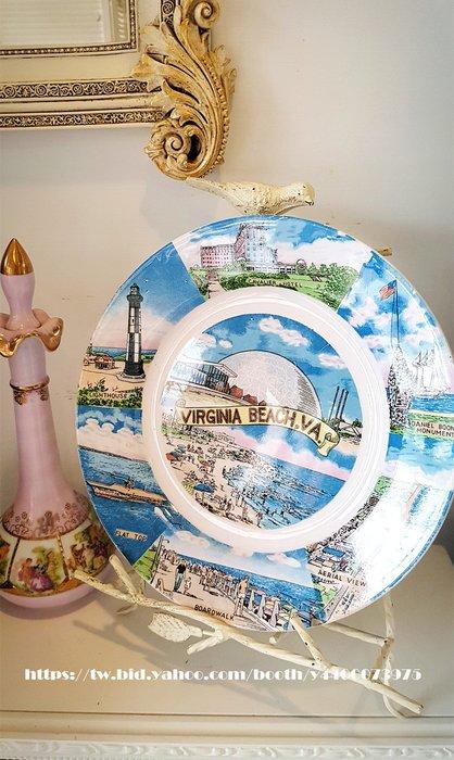 妍媽咪ㄉ西洋古董~ 美國 維吉尼亞 海灘航海主題 紀念瓷盤~ Vintage 復古 珠寶