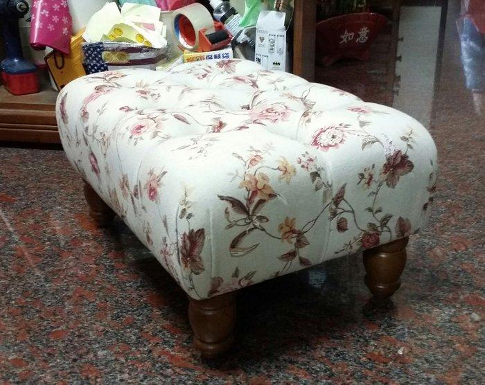 美生活館--全新鄉村風格實木腳木色 米底玫瑰花布拉扣 長方形沙發矮凳/穿鞋椅/寶貝椅-可訂製尺寸換布