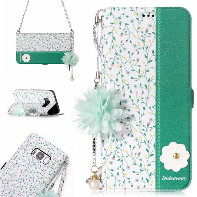 三星 Galaxy Note8 S8 Plus 手機皮套 花語 米藍花 手腕掛繩 花朵吊墜 側翻皮套 插卡支架 硅膠軟殼