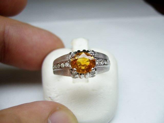 [吉宏精品交流中心]93分 天然黃寶石 天然鑽石 白K金 造型 戒指