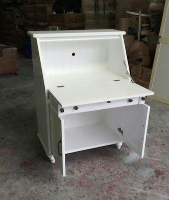 美生活館---客訂商品---鄉村紐松全原木 全純白 掀蓋書桌收納 兩用功能櫃/收納櫃/置物櫃 ---可依尺寸與顏色再報價