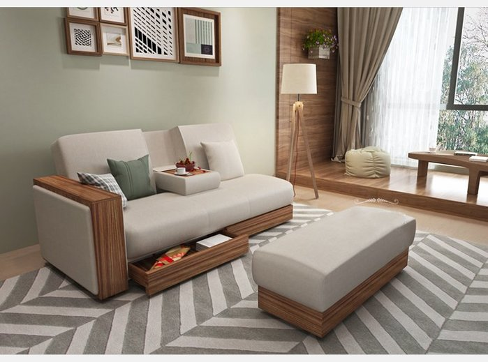 【森林原木手工家具】可拆洗天然乳膠棉麻布質沙發組合