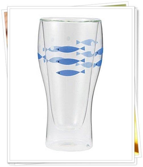 DECOLE 另類兩層不流汗玻璃杯 小魚圖案 無水珠 雙層玻璃杯 啤酒杯 飲料杯 日本進口正版 133173
