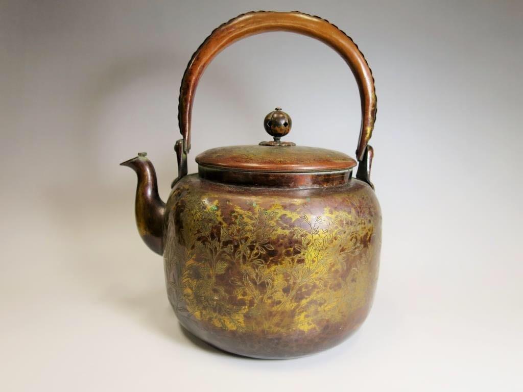 日本-明治年-薬缶 水注 秋草文 口蓋付 鍍金 銅瓶