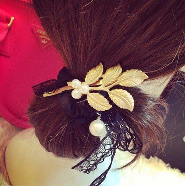 髮飾 現貨 韓國 氣質 甜美 金色 立體 樹葉 珍珠 髮夾 K7178 單個價 批發價 Danica 韓系飾品 韓國連線
