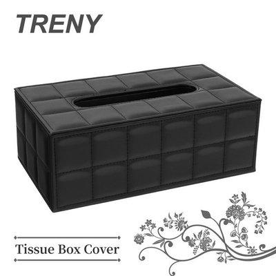 【TRENY直營】皮革面紙盒 格子黑 高級質感 收納 面紙套 衛生紙盒 抽取式面紙 0493