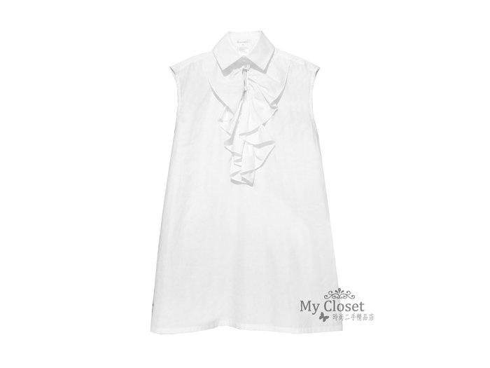 My Closet 二手名牌 CHANEL 2014 白色襯衫領荷葉邊無袖洋裝