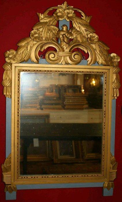 【波賽頓-歐洲古董拍賣】歐洲/西洋古董 法國古董 19世紀 帝國風格 法國製造 木雕彩繪鏡(已售出)