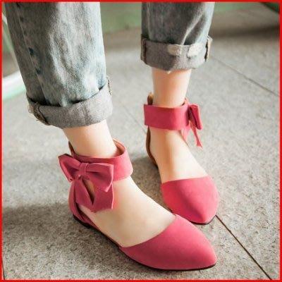 涼鞋*鞋館Shoes hall*【A8819】熱戀巴黎~素色蝴蝶結尖頭平底涼鞋~黑色~