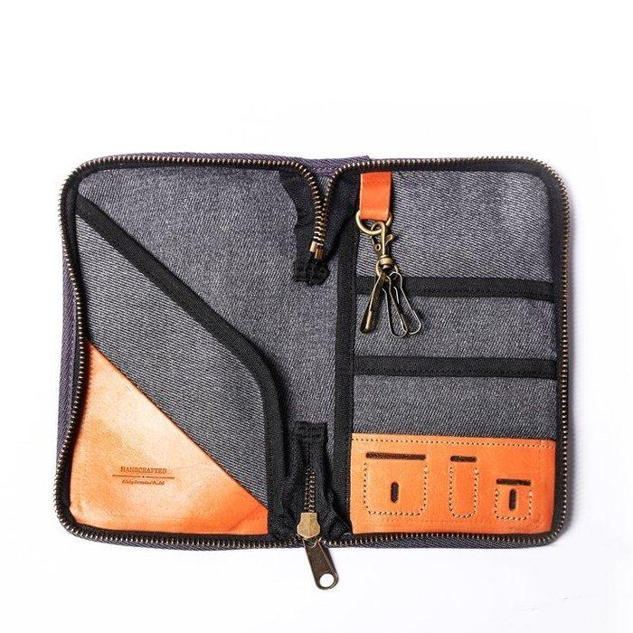 點子包 iclea X bag │真皮個性飛行護照夾 護照套 簡約灰/單寧藍 DG20