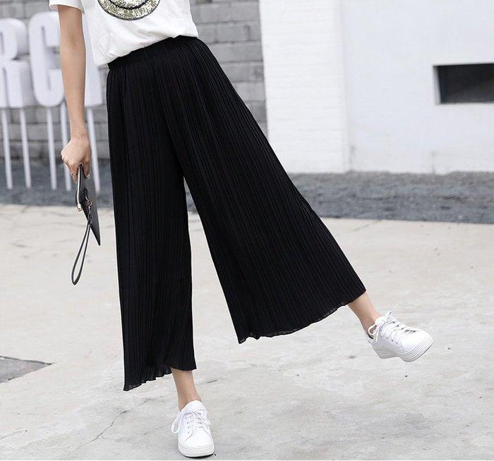 寬褲 (SP0330) 高腰顯瘦彈力舒適雪紡寬褲 闊腿褲
