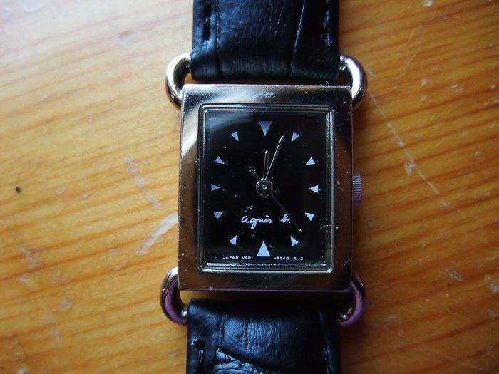 日本agnes b.黑色皮帶手錶  日本製
