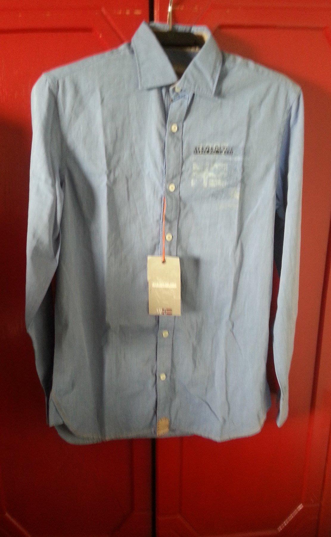 【NAPAPIJRI】全新~水藍色休閒襯衫 S號