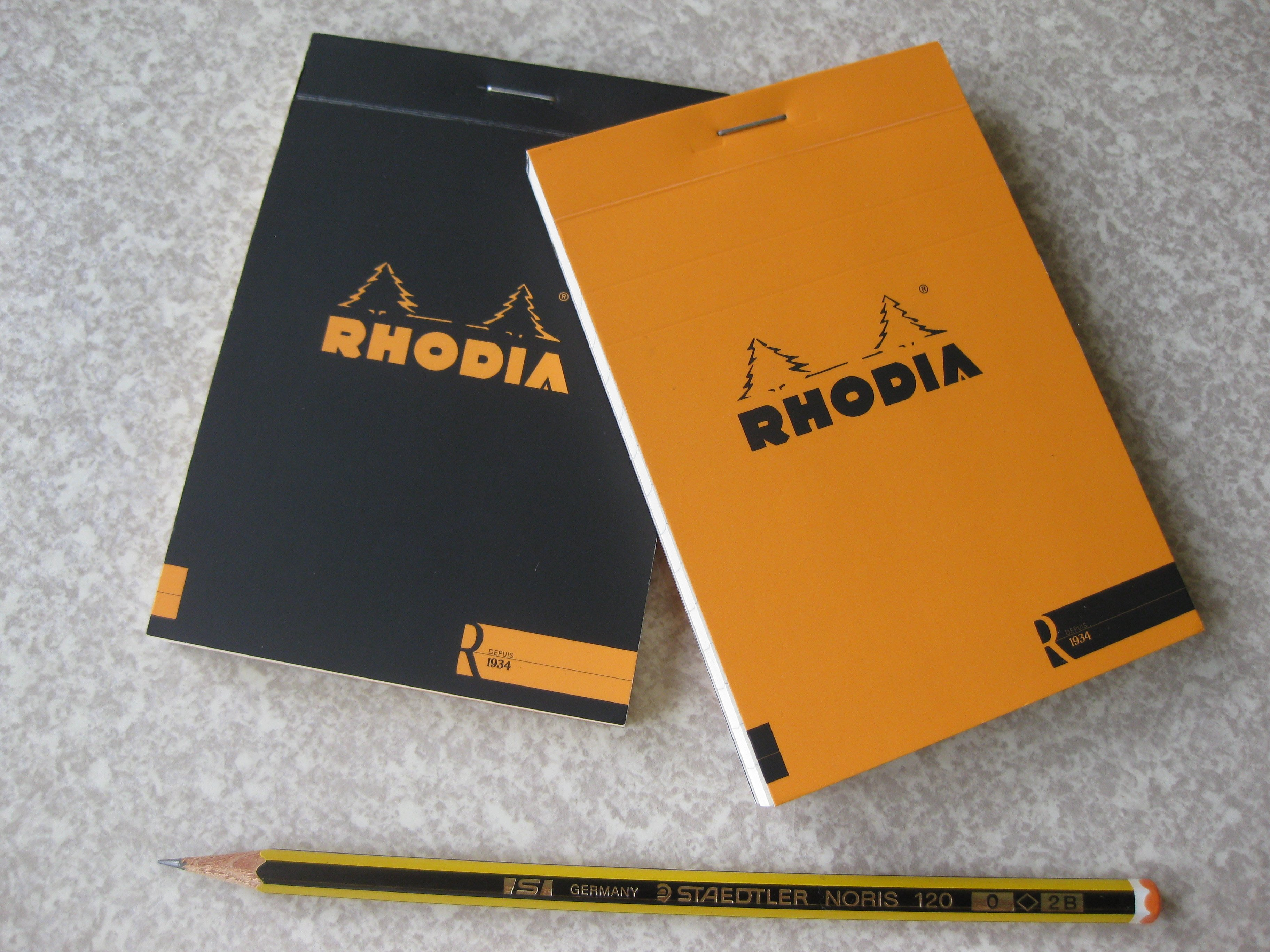 Rhodia 經典款 Le R 1934筆記本 2本合售 (8.5x12cm)(空白頁/ 黑)& 橫格頁/ 橘)