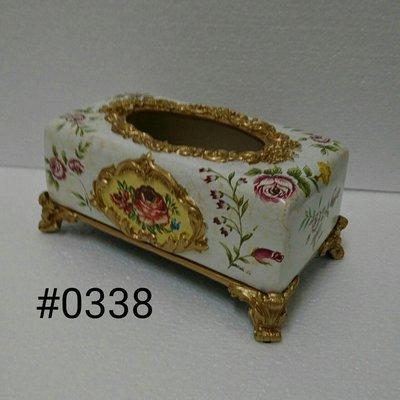 美生活館--- 全新 古典 高溫陶 長方型 金色 仿舊雕刻 繽紛玫瑰花朵 米白色 面紙盒/收納盒
