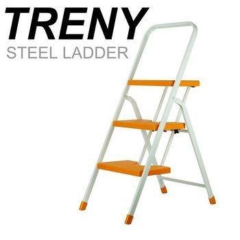 【TRENY直營】台灣製造 橘色三階扶手梯 公司貨 工作梯 手扶梯 一字梯 A字梯 梯子 家庭必備 3482