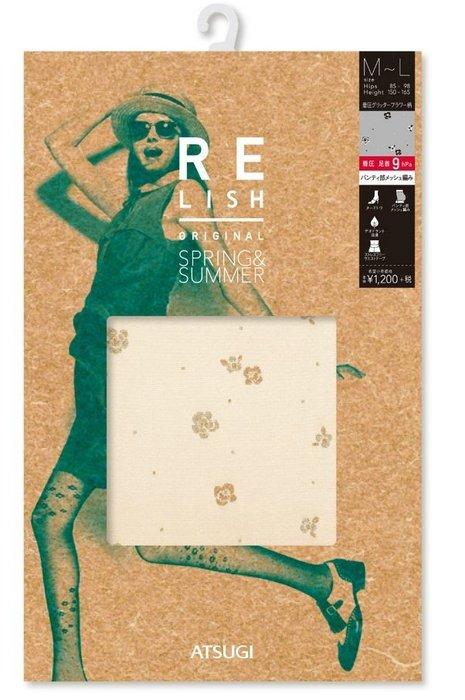 【拓拔月坊】厚木 Relish ORIGINAL 著壓 閃亮雙色小花散柄 絲襪 日本製~現貨!