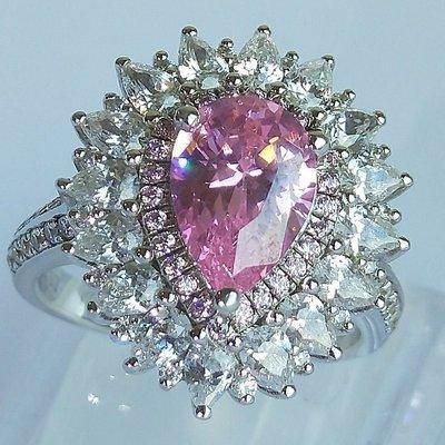 最夯粉鑽專櫃925純銀包白金戒指 微鑲主鑽3克拉粉鑽包邊高碳鑽石肉眼看是真鑽 超低價鉑金質感高碳仿真鑽石莫桑鑽寶特價優惠