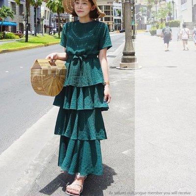 正韓 短袖格紋綁帶高腰蛋糕裙洋裝 GSSAW.AJ 【JKQ0484】