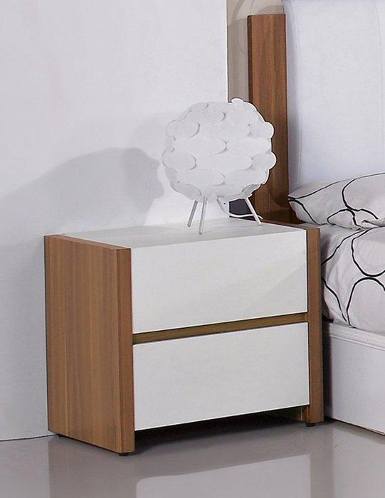 【DH】商品貨號N557-4商品名稱《巴卡》胡桃/白色雙色床頭櫃。主要地區免運費