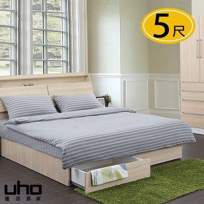 床底【UHO】艾美爾後拉式5尺雙人抽屜床底 免運費 HO18-409-5