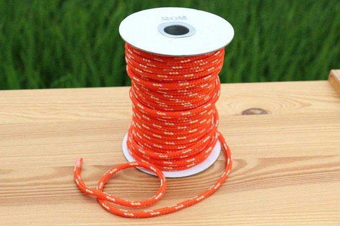螢光營繩、露營固定繩、風繩、直徑5mm,長度20公尺,另售天幕、彈性營繩 橘色 黃色