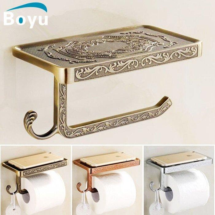 【安和衛浴】歐式仿古手機紙巾架卷紙架 衛生間手機置物架 廁所手紙架衛生紙盒