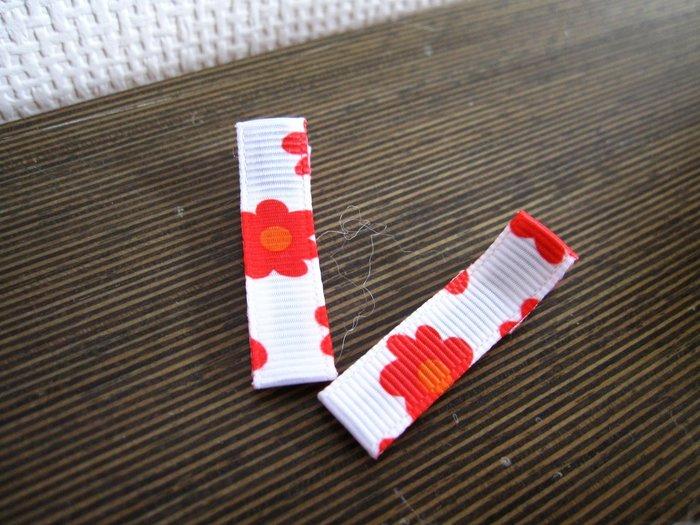 紅色小花朵手作髮夾 2隻一組