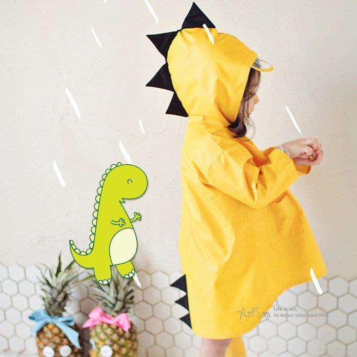 《AsFun》 韓版 立體恐龍造型雨衣 造型兒童雨衣 環保透氣 防風防雨外套 防水外套 雨披 風衣 安全輕巧可愛 送收納