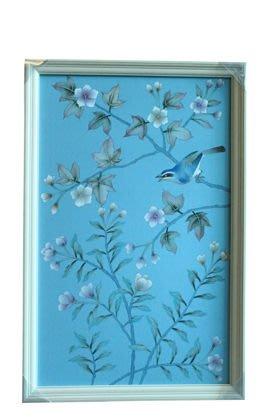 【芮洛蔓 La Romance】東情西韻系列手繪絹絲畫飾 藍底花鳥 CHY-026