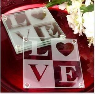 【气球批发广场】送客小礼 / 美国婚礼小物 系列【LOVE玻璃杯垫】精美 双片