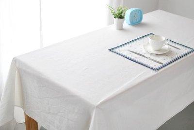 【#020 纯白无图】多种尺寸的桌巾◈桌布◈圆桌巾◈方桌巾◈天然绵麻桌巾◈ 宅优物◈100*135cm◈