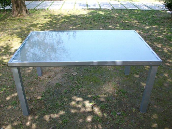 [兄弟牌戶外休閒傢俱]鋁長方形玻璃庭院桌~4700未稅特價銀灰色烤漆~桌152*96CM適合4-6 椅搭庭園桌椅組。