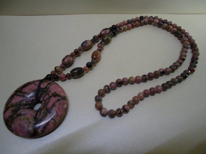 天地 藝品 特別 嚴選 ( 花東 瑰寶 ) 天然 本土 漂亮 ( 玫瑰 石 ) 圓滿 珠鍊 大 平安 扣 K888