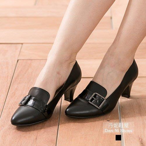 尖頭鞋 高跟鞋 個性皮扣尖頭真皮高跟鞋 靜音天皮 MIT台灣製造手工鞋 丹妮鞋  屋