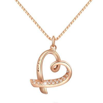 NATELA 玫瑰金歐美設計 18K流線型愛心款 一側鑲著閃亮的鋯石 另一側 刻著LOVE字樣節日禮物 熱賣拍賣周年慶