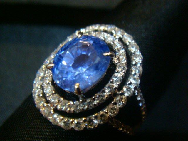 賠售換現3.57克拉 天然頂級絲絨藍 藍寶石配鑽1.17克拉18K金鑽戒