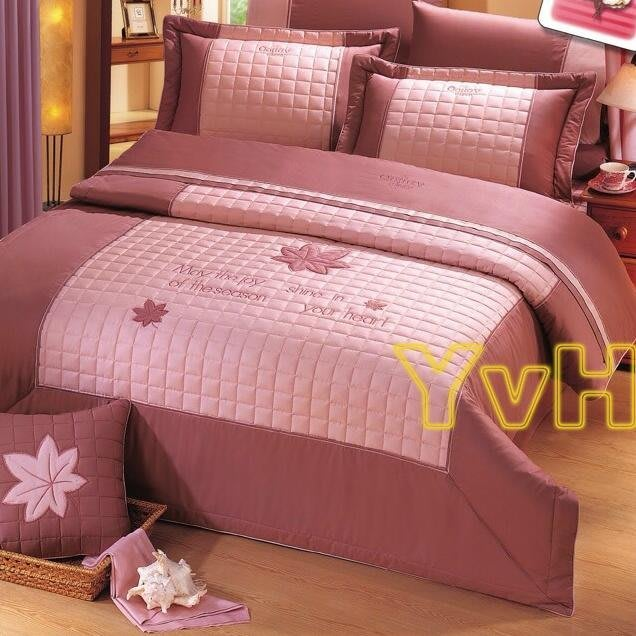 ==YvH==Smart 台灣製精品 315 迷戀楓采 楓葉貼布繡 雙人鋪棉床罩組 100%精梳純棉