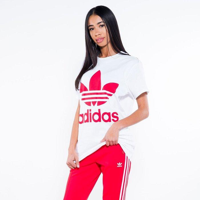 【Dr.Shoes 】Adidas Big Trefoil Tee 女裝白 紅Logo 休閒運動 短袖T恤 CY2275