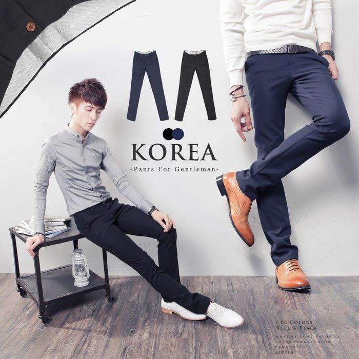 。SW。【K32115】正韓 韓國製 修身顯瘦 質感 硬挺彈性西裝布 木扣 窄版 雅痞紳士 藍/黑 素面西裝褲