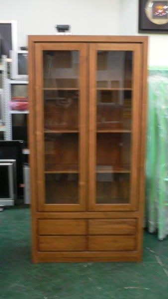 宏品柚木家具賣場 二手傢俱 P170*新4抽2門柚木酒櫃*實木書櫃/高低玻璃展示櫃/收納櫃