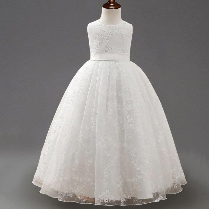 現貨 女童簡約白刺繡花洋裝禮服18MM010543