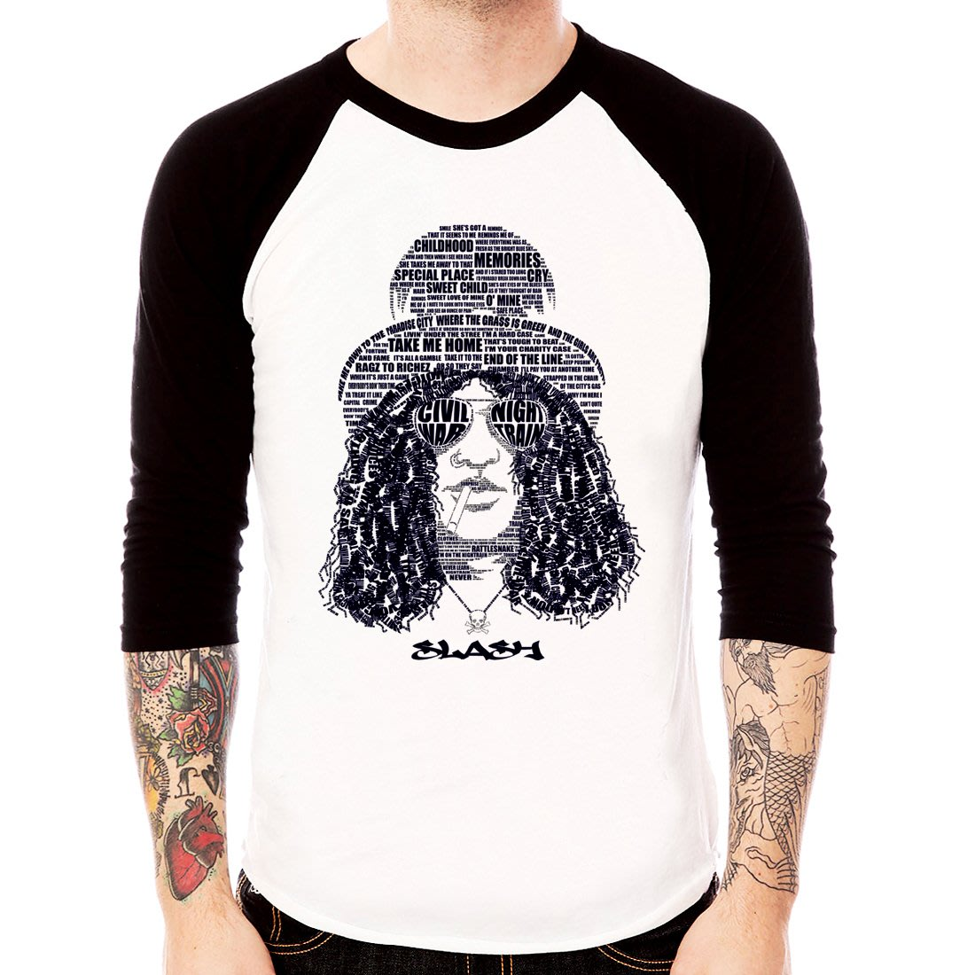 Slash words 七分袖T恤 2色 GUNS N ROSES 槍與玫瑰樂團搖滾金屬ROCK