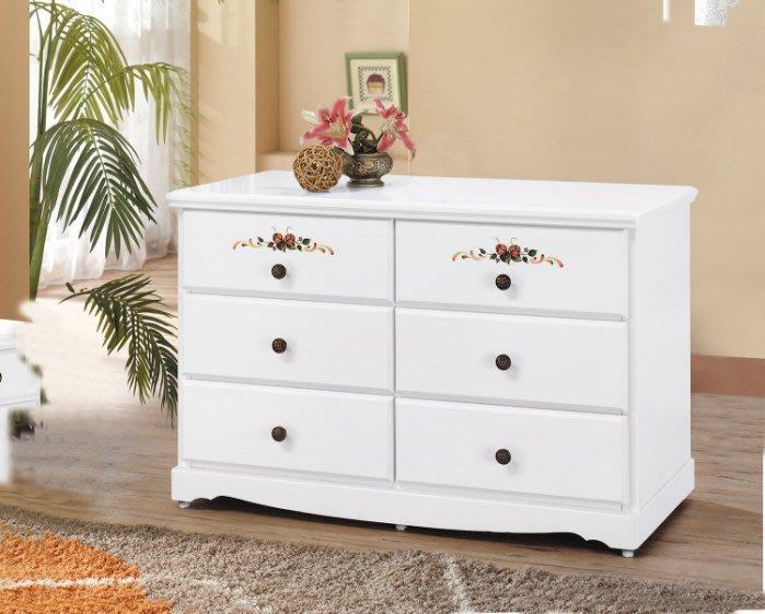 【DH】商品貨號CK-F326商品名稱《艾蜜》四尺歐風時尚實木彩繪六斗櫃(圖一)備有純白色/柚木色/另計。主要地區免運費