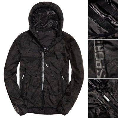 極度乾燥 Superdry Sports Active Core 連帽 風衣 外套 薄夾克 春夏新款 附收納袋 黑迷彩