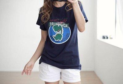 正韓韓國進口上衣棉T T恤 現貨藍色白...