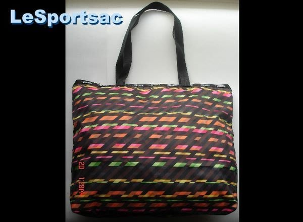 【LeSportsac】6526(7862) 4659 ZIPTOP SHOPPER / 棕色行人穿越道 側肩 購物包