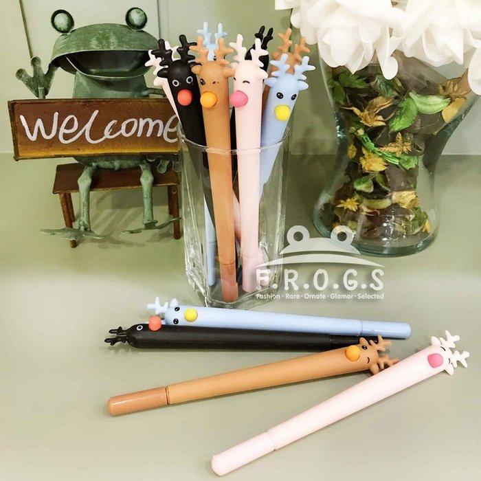 F.R.O.G.S K40183日韓INS款創意可愛麋鹿馴鹿造型筆0.5mm黑色簽字筆原子筆滾珠筆中性筆辦公用品-現+預