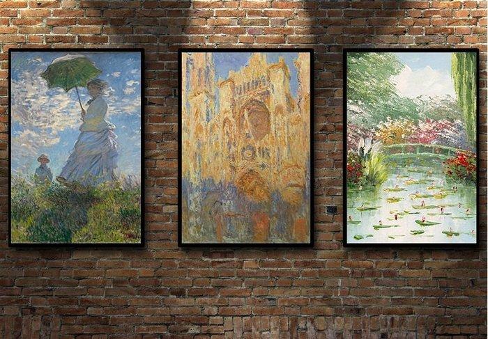 裝飾畫 定制莫奈Monet法國印象派日出盧昂大教堂 多款